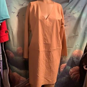 NWT Faux Leather Dress slip on size 14 nude
